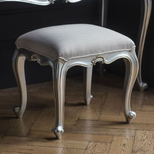 Chic Dressing Stool in Silver